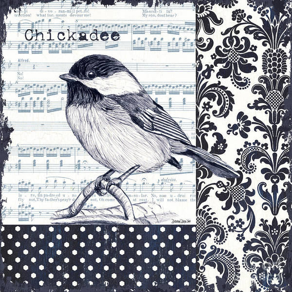 Blue Feather Wall Art - Painting - Indigo Vintage Songbird 2 by Debbie DeWitt