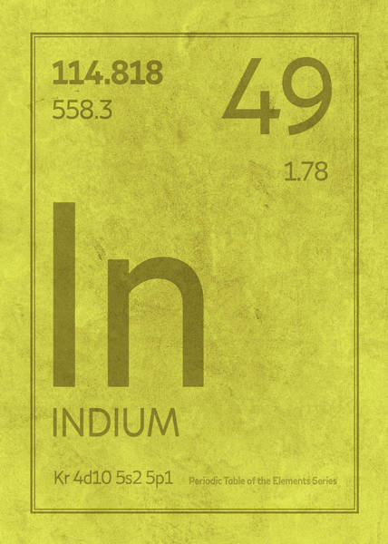 Atomic Number Wall Art - Mixed Media - Indium Element Symbol Periodic Table Series 049 by Design Turnpike