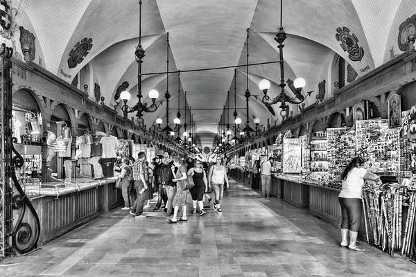 Photograph - Indoor Market Krakow Black And White by Sharon Popek
