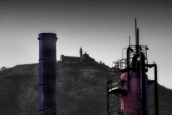 Photograph - Industrial Archeology Refinery Plant With Guardia Mount Sanctuary by Enrico Pelos