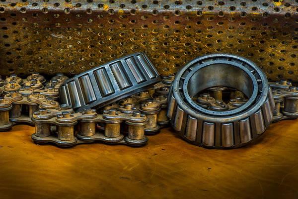 Rusty Chain Wall Art - Photograph - Industrial Bearings Still Life by Paul Freidlund