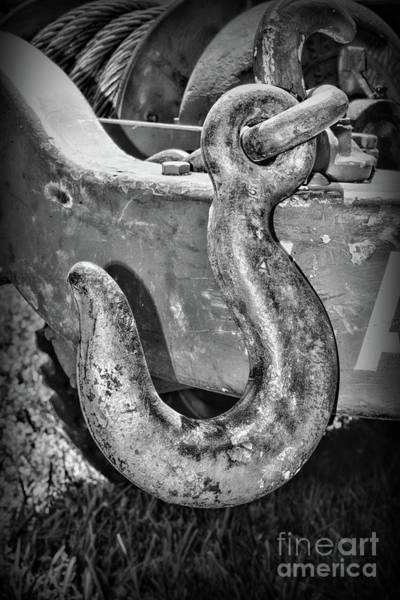 Chain Link Photograph - Industrial Chain Hook Black And White by Paul Ward
