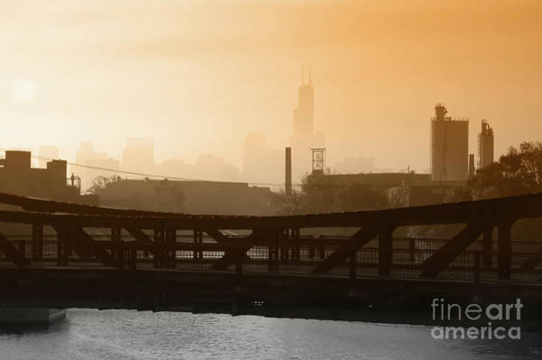 Fuel Wall Art - Photograph - Industrial Foggy Chicago Skyline by Bruno Passigatti