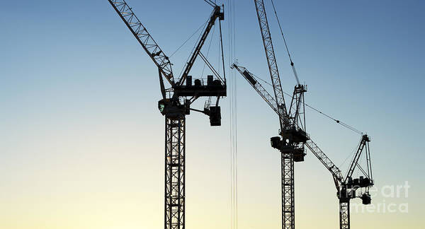 Wall Art - Photograph - Industrial Cranes Silhouette by Tim Gainey