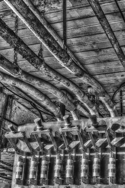 Photograph - Industrial Electrical Panel Bw by Susan Candelario