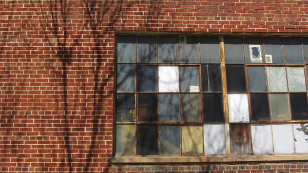 Photograph - Industrial Window And Red Brick 3 by Anita Burgermeister