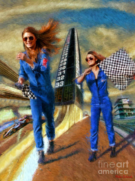 Photograph - Indy Flag Girl Twins by Blake Richards