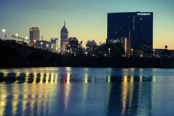 Photograph - Indy Skyline Reflections - Indianapolis Indiana by Gregory Ballos