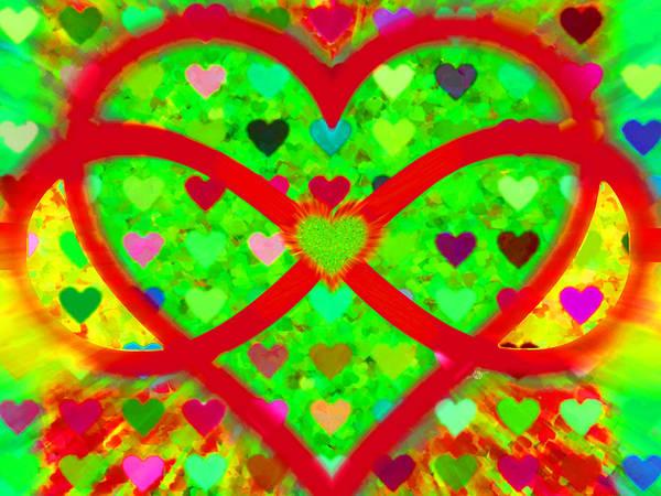 Painting - Infinity Love Heart Green by Tony Rubino