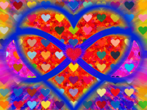 Painting - Infinity Love Heart Red by Tony Rubino