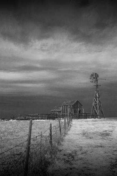 Photograph - Infrared Black And White Of Frontier Windmill And Barn At 1880's Town In South Dakota  by Randall Nyhof