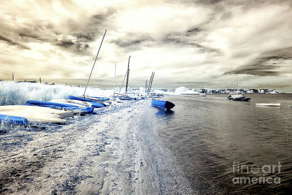 Down The Shore Photograph - Infrared Blue Boat In The Water On Long Beach Island by John Rizzuto