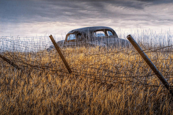 Photograph - Infrared Photo Of An Abandoned Auto Along A Wire Fence In The Ghost Town By Okaton South Dakota by Randall Nyhof
