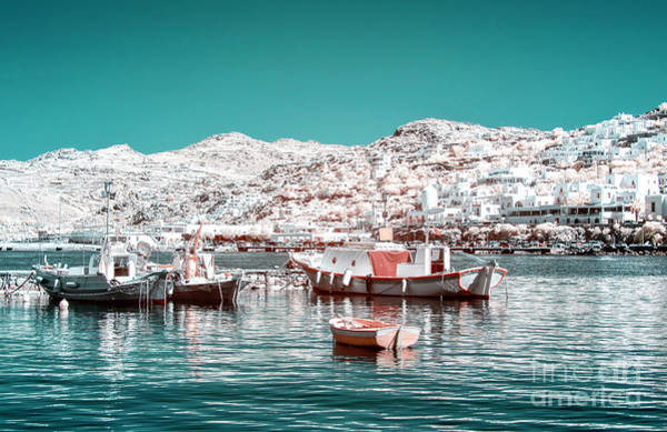 Photograph - Infrared Port Boats In Mykonos by John Rizzuto