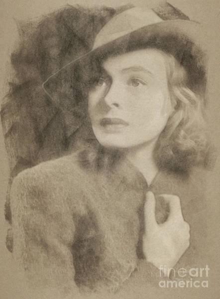 Pinewood Drawing - Ingrid Bergman, Hollywood Legend By John Springfield by John Springfield