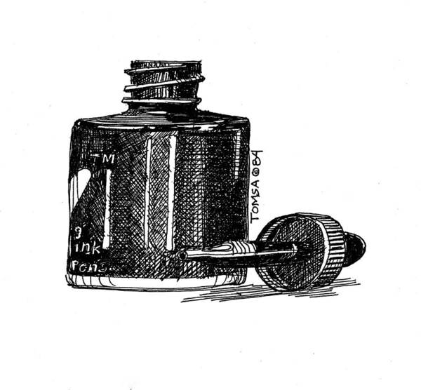 India Ink Wall Art - Drawing - Ink Bottle And Dropper by Bill Tomsa