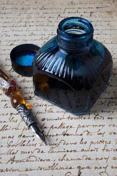 Ink Pen Photograph - Ink Bottle On Document  by Garry Gay