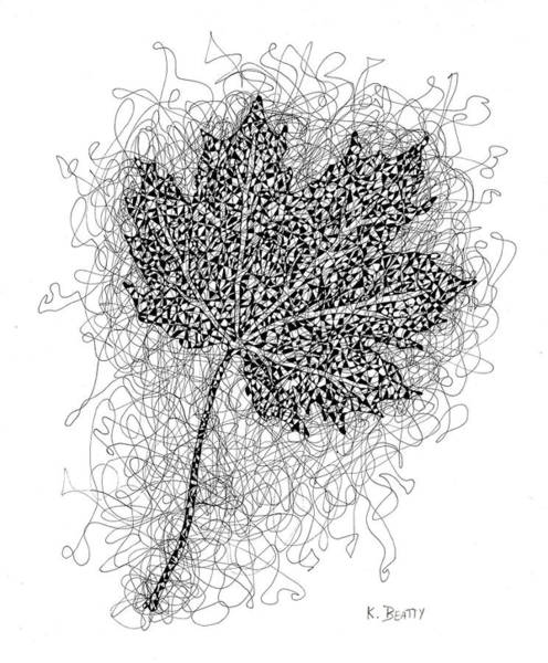 Ink Drawing Of Maple Leaf Art Print
