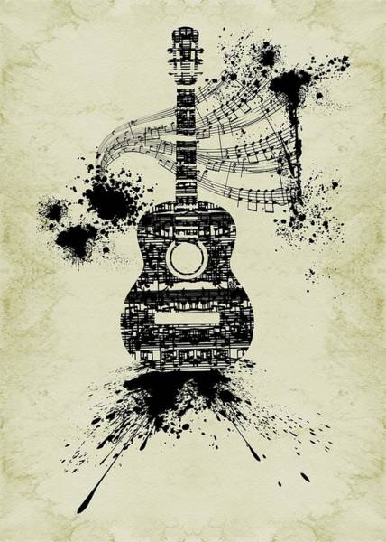 Digital Art - Inked Guitar Sepia by Barbara St Jean
