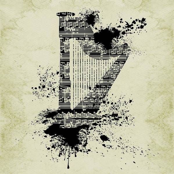 Digital Art - Inked Harp Sepia by Barbara St Jean