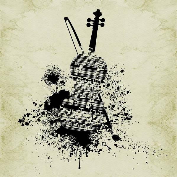 Digital Art - Inked Violin Sepia by Barbara St Jean