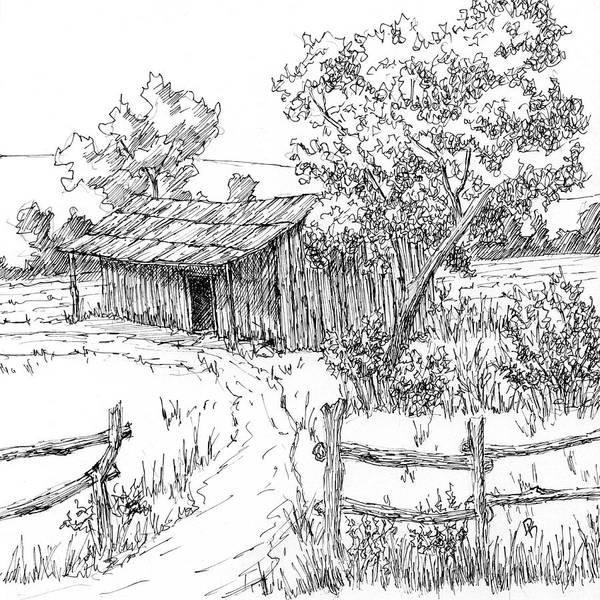 Homestead Drawing - Inktober 2017 No 1 by David King