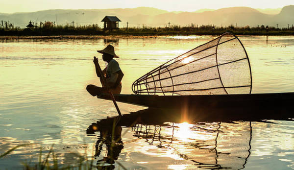 Photograph - Inle Fisherman At Sunset by Pradeep Raja PRINTS