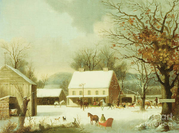 Wall Art - Painting - Inn Scene, Seven Miles To New Haven by George Durrie