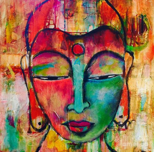Art Print featuring the painting Inner Buddha  by Corina Stupu Thomas