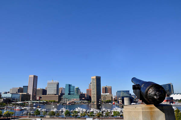 Bicycle Rack Photograph - Inner Harbor Cannon by Andrew Dinh