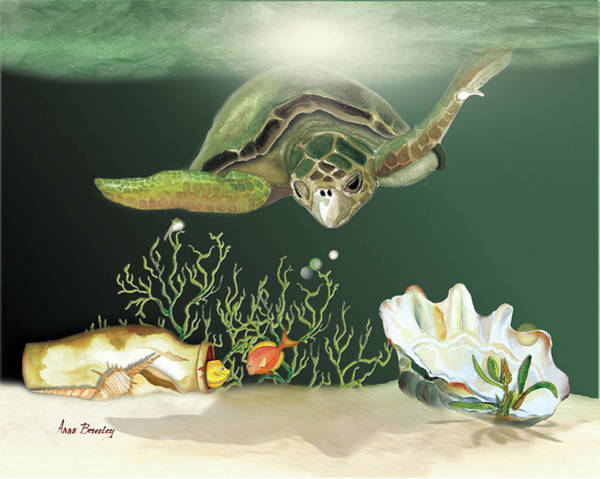 Painting - Inquisitive Turtle by Anne Beverley-Stamps