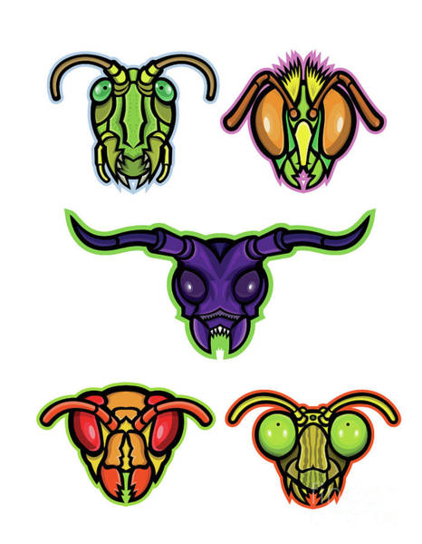 Wall Art - Digital Art - Insects Mascot Collection by Aloysius Patrimonio