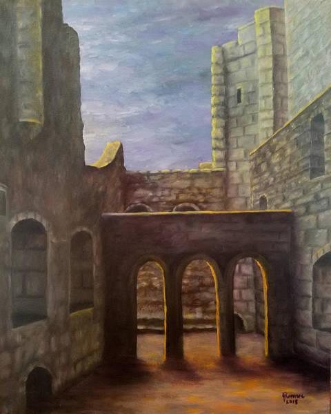 Wall Art - Painting - Inside Bodiam Castle, England by Joann Renner