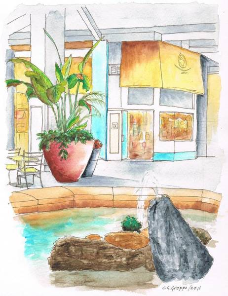 Mall Painting - Inside Fountain In The Manhattan Beach Mall - California by Carlos G Groppa