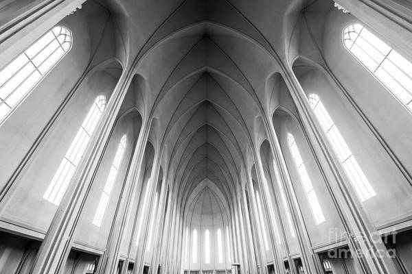 Reykjavik Photograph - Inside Hallgrimskirkja Bw by Michael Ver Sprill