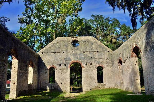 Photograph - Inside St. Helena Islands Chapel Of Ease Bluffton Sc by Lisa Wooten