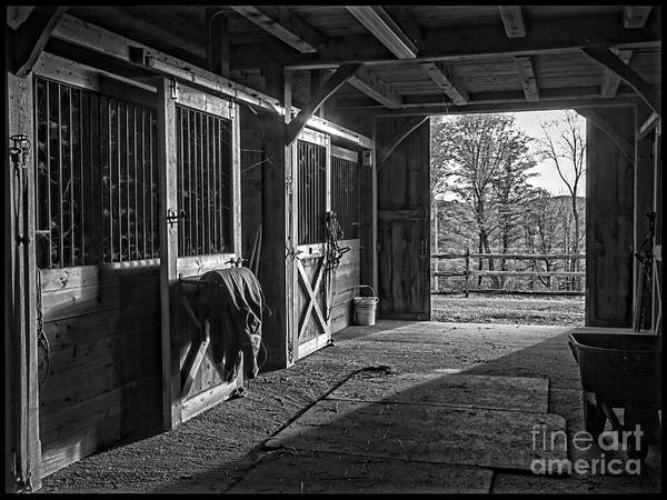 Photograph - Inside The Horse Barn Black And White by Edward Fielding