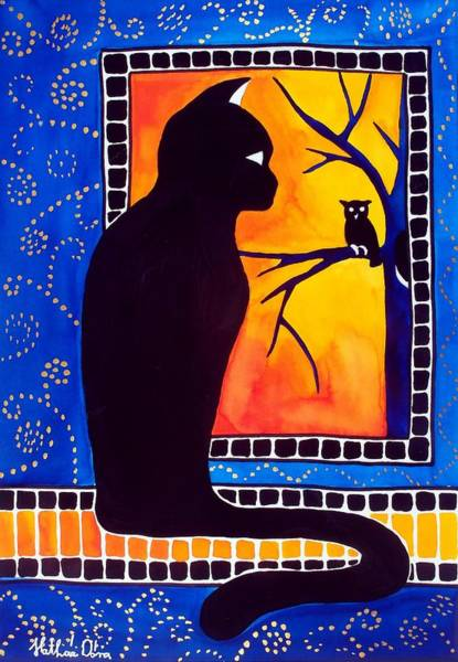 Painting - Insomnia - Cat And Owl Art By Dora Hathazi Mendes by Dora Hathazi Mendes