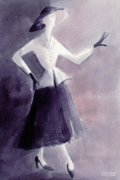 Painting - Inspired By Christian Dior Fashion Illustration Art Print by Beverly Brown