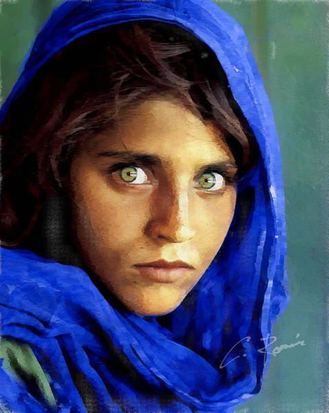 Digital Art - Inspired By Steve Mccurry's Afghan Girl by Charlie Roman