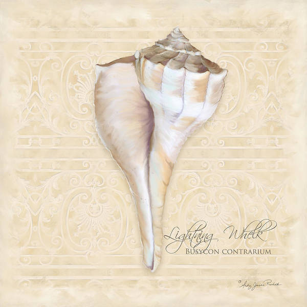 Wall Art - Painting - Inspired Coast 3 - Lightning Whelk Shell Busycon Contrarium by Audrey Jeanne Roberts