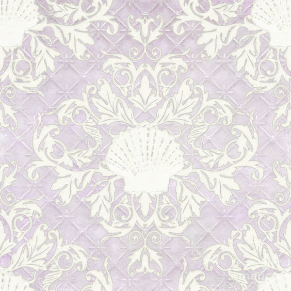 Wall Art - Painting - Inspired Coast Beach Seashell Damask Scrollwork Lavender by Audrey Jeanne Roberts