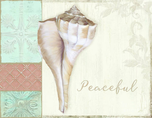 Wall Art - Painting - Inspired Coast Beach Shells Peaceful by Audrey Jeanne Roberts
