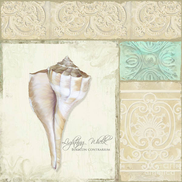 Lightning Painting - Inspired Coast Collage - Lightning Whelk Shell Vintage Tile by Audrey Jeanne Roberts
