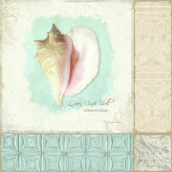 Wall Art - Painting - Inspired Coast Collage - Queen Conch Shell Tile Patterns by Audrey Jeanne Roberts