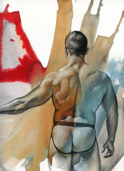 Male Nude Drawing - Instant 3 by Chris Lopez
