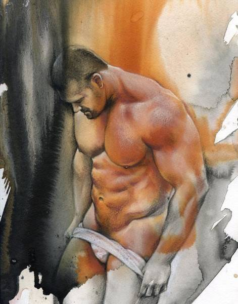 Male Nude Drawing - Instant by Chris Lopez