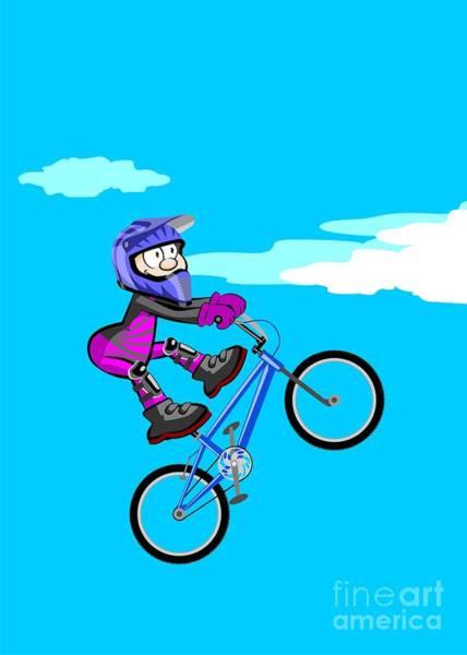 Digital Art - Intepid Boy Jumping On A Blue Bmx Bicycle by Daniel Ghioldi