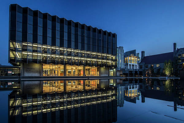 Photograph - Interesting Architecture At Blue Hour With A Reflection Pool by Sven Brogren