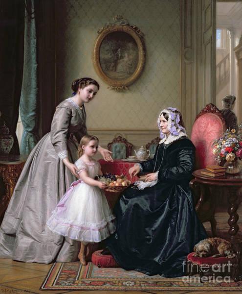 Grandma Wall Art - Painting - Interior At 'the Chestnuts' Wimbledon Grandmother's Birthday by J L Dyckmans